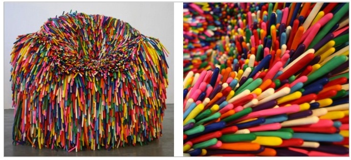 Happy Material Series chair, by  Pini Leibovich , made from balloons.