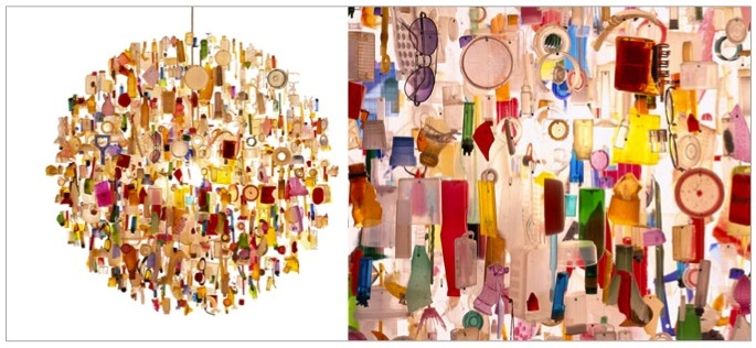 Tide chandelier, by Stuart Haygarth, made from debris washed ashore in Kent.