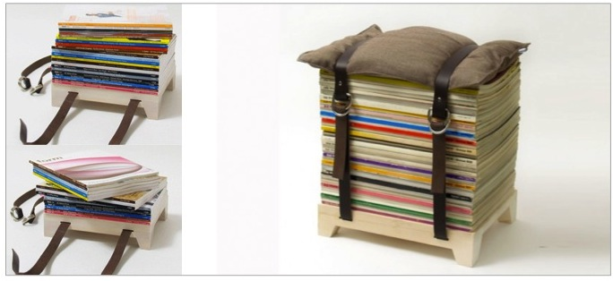 Is your mailbox crammed with magazines too?  Make use of them with the Hockenheimer Adjustable stool by NJU Studio.