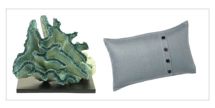 Resin coral from  Outer Banks Trading Corp ; Pillow from  Pottery Barn
