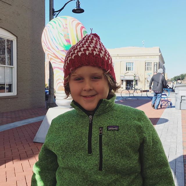 Customer photos! This adorable little fella fell for this hat the moment he walked into the market, and was successful in talking mom and dad into making the purchase. Couldn't have found a better home! #crochet #craftshow #holidaymarket #hubbubholidaymarket #hubbub #hubbubsc #crochetaddict #fiberartist #fiberart #makersgonnamake #diy #makersmovement