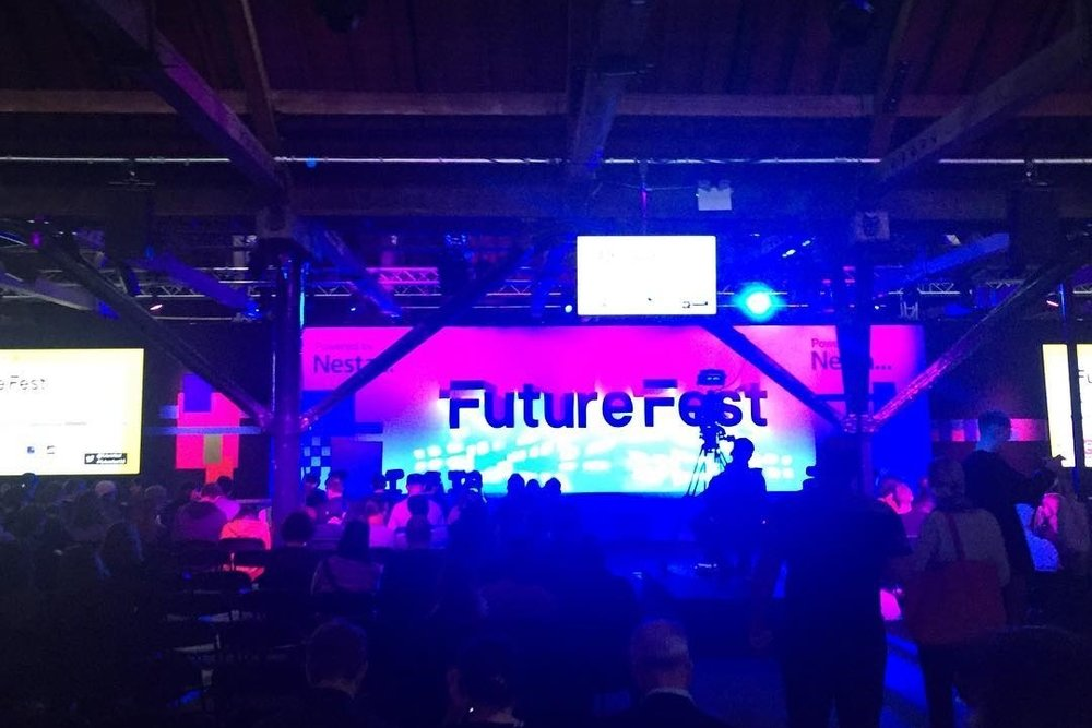 The 'Imagine' room at FutureFest 2016, where 'The future of storytelling' panel took place