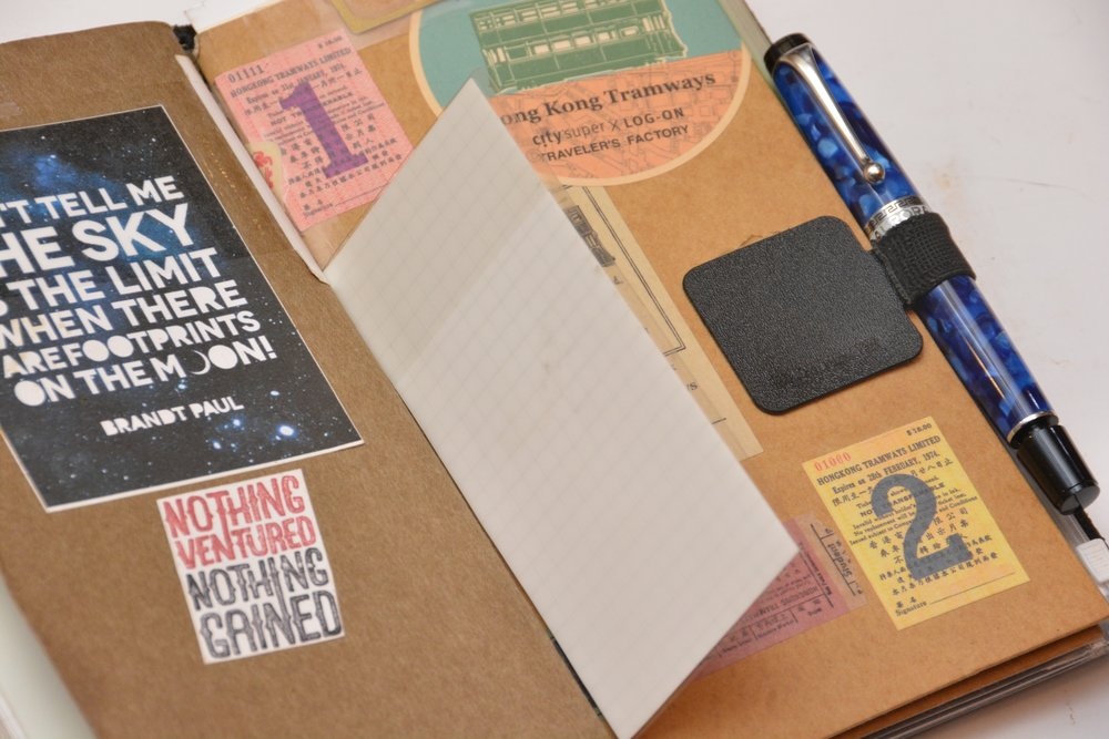 "Transluscent sticky notes by Stalogy are favorites of mine. I write ""lessons"" on them and overlay my personal writing with them. It's conceptually meaningful to me and very much a part of my process. My new blue Aurora Optima fountain pen is now the only pen I carry. I have gone from have two pen loops to one and I use this pen constantly. It makes my heart sing. The pen loop is from Leuchtturm1917."