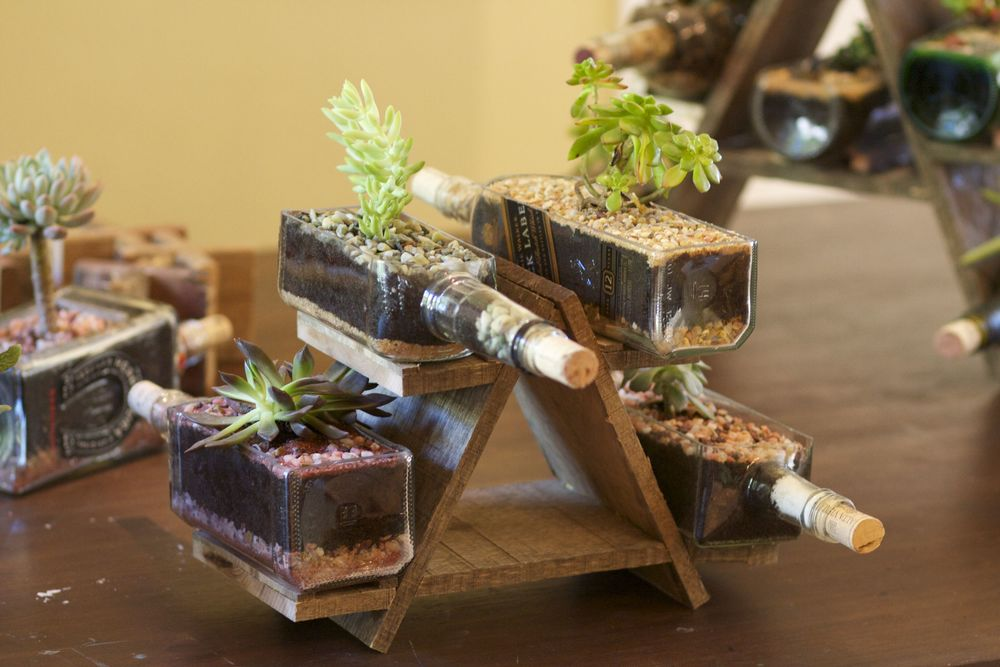 A-Frame Wine Bottle Succulent Holder