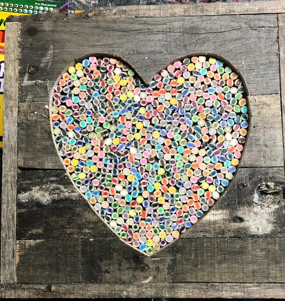 Colored Pencil Heart - Pallet Wood