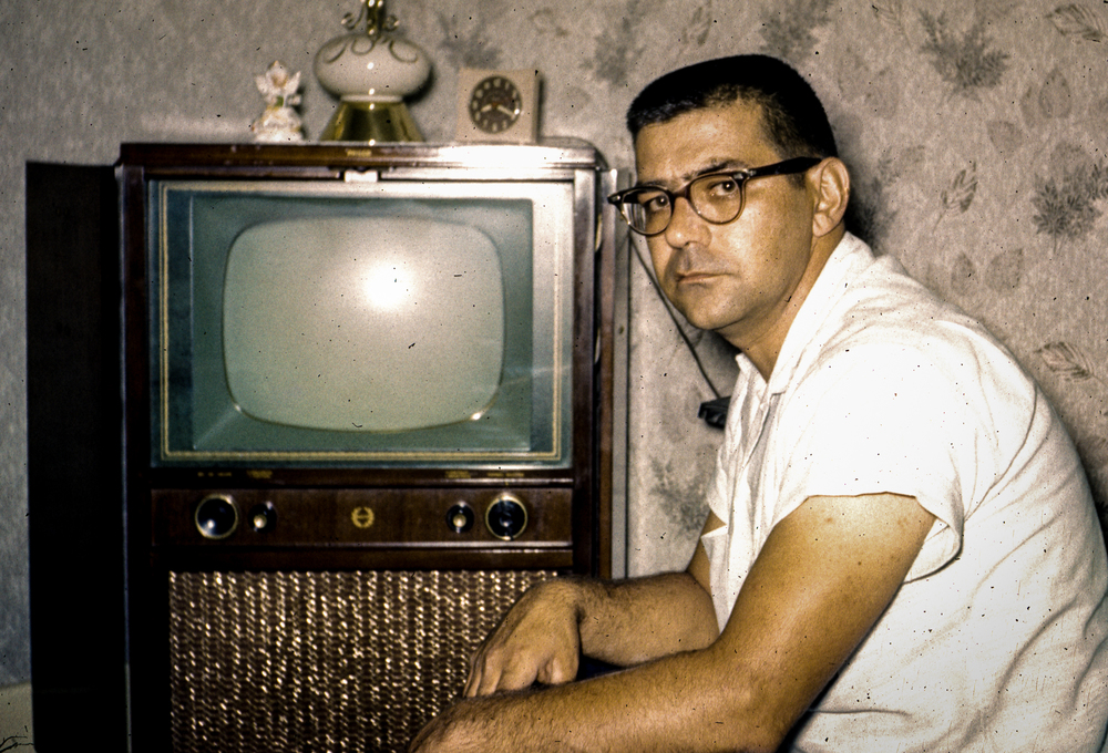 Dad and the Philco TV on Kodachrome - 1959