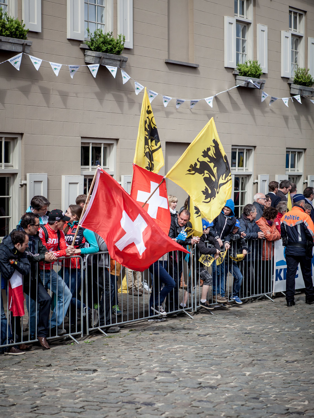 Switzerland vs Flanders, Cancellara vs Boonen. The two cyclists responsible for the majority of the flags seen on the roadside.