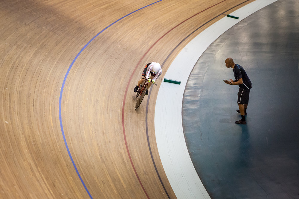 Another one from Clarry's hour record. Lap after lap after lap, with the only feedback being the lap times that Justin shouts each time round. Invaluable support for sure, but for me this photo shows the dividing line between the support team in track centre and the athlete on track. Once the hour starts, you are alone on the track.