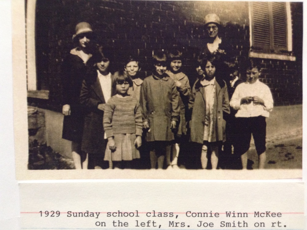 Connie Winn and Mrs. Joe Smith with their Sunday School Class, Greenville Church, c. 1929