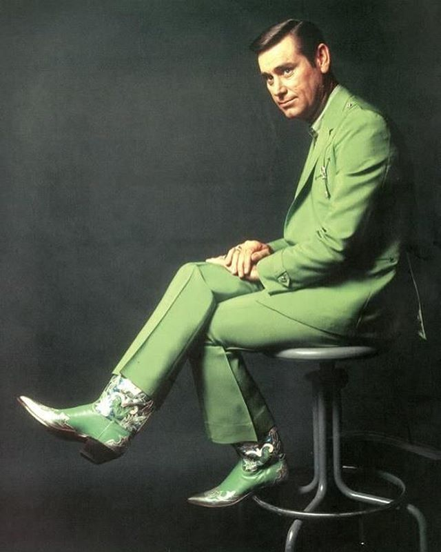 Our new displays from @clrrrrk have us feeling everything GREEN including this pic of the great George Jones in his green Nudie Suit. Regram from one of my favorite style queens @libbycallaway1970 . They don't do it like this anymore.