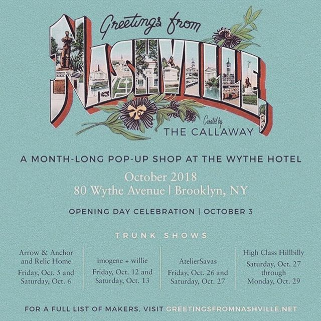 NYC // Oct 5th & 6th // we're bringing a whole lot of Nashville to @wythehotel via @greetingsfromnashville // I'll be alongside my friend Alyssa from @relic.home and surrounded by a ton of local talent. Come through and see us!!