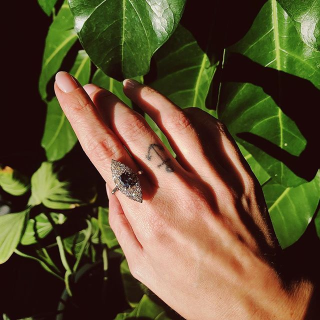 Casting shadows with this Antique Spinel and Diamond Navette // We're in love with her // DM for all inquiries and purchase info xx