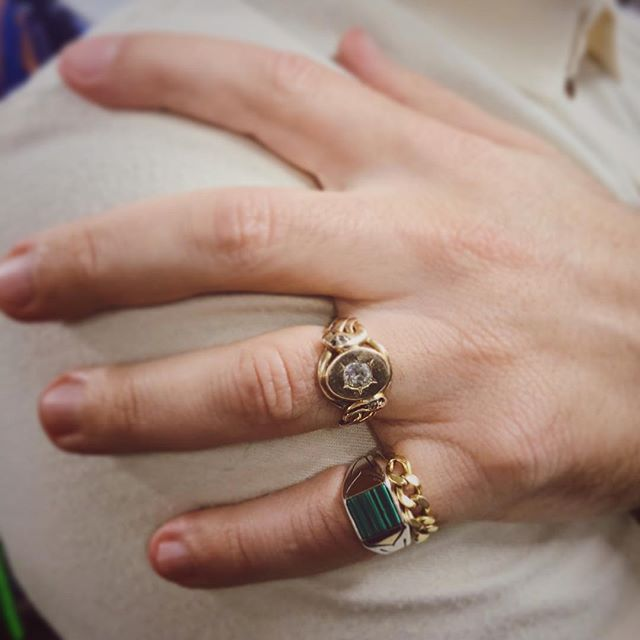 @plattboutiquejewelry in his new Arrow Ring!! Order yours today! Sterling Silver with 18k Gold wings. Available in Malachite, Lapis, Onyx, or Tigers Eye! A collab by @vadajewelry X @arrowandanchorantiques