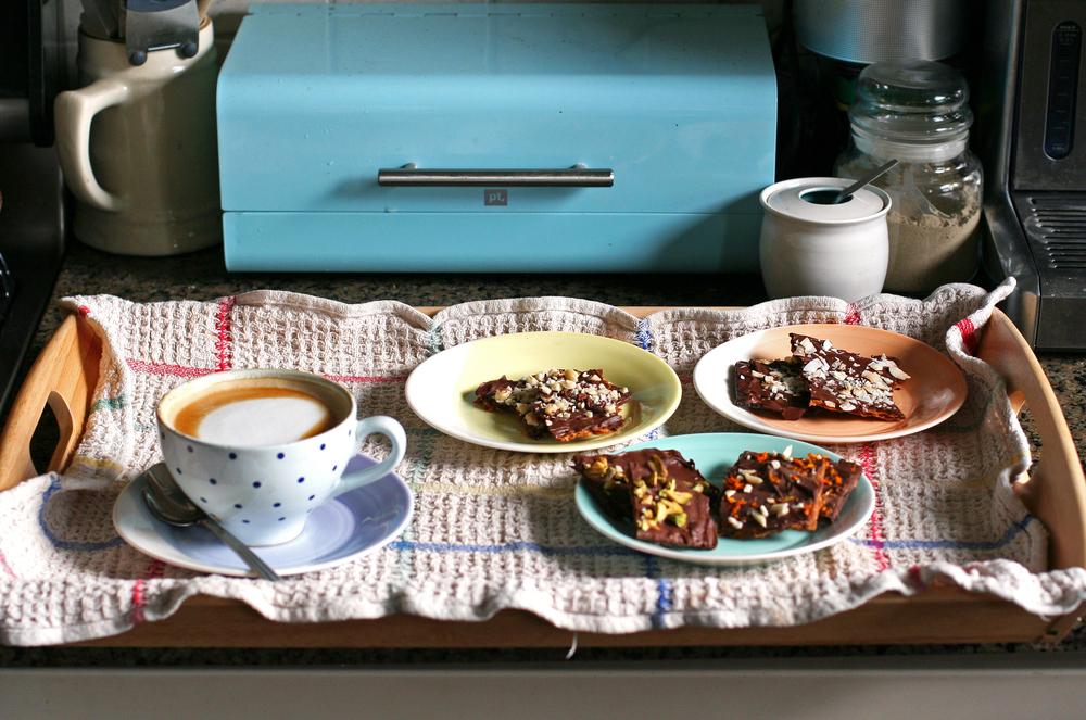 chocolate matzoh tray with cappucino.jpg