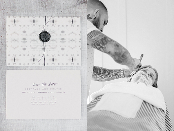 joy-thigpen-wedding-destination-modern-wax-seal-vellum-invitation-suite-straight-razor-shave-black-gray