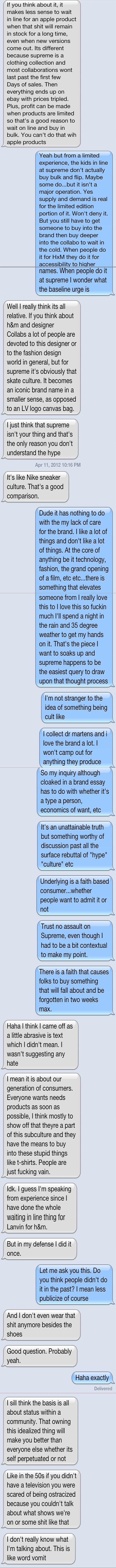 Text Conversation about Supreme Essay