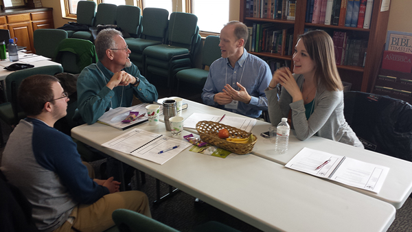 Pastor John Zahrte strategizes a new ministry in Excelsior, Minnesota along with fellow team members from Our Savior Lutheran Church.
