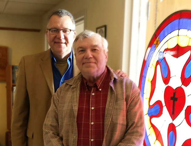 Dr. William Utech, Assistant to the President for Missions (at left) welcomes Dr. James Seeman (right) as Coordinator of District Prison and Jail Ministry.