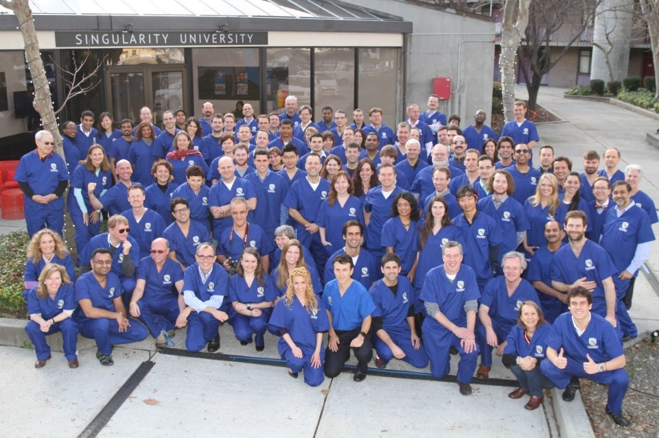 All students and staff in scrubs at FutureMed 2013 at Singularity University (I'm top right hand corner wearing shades!)