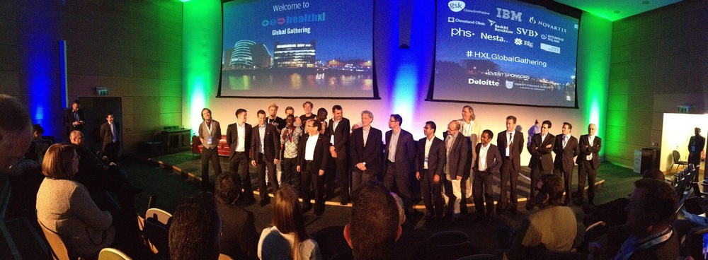 All 7 Health XL teams on stage at the event