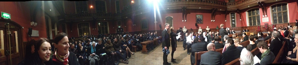 Panoramic view of Oxford Union's debating chamber