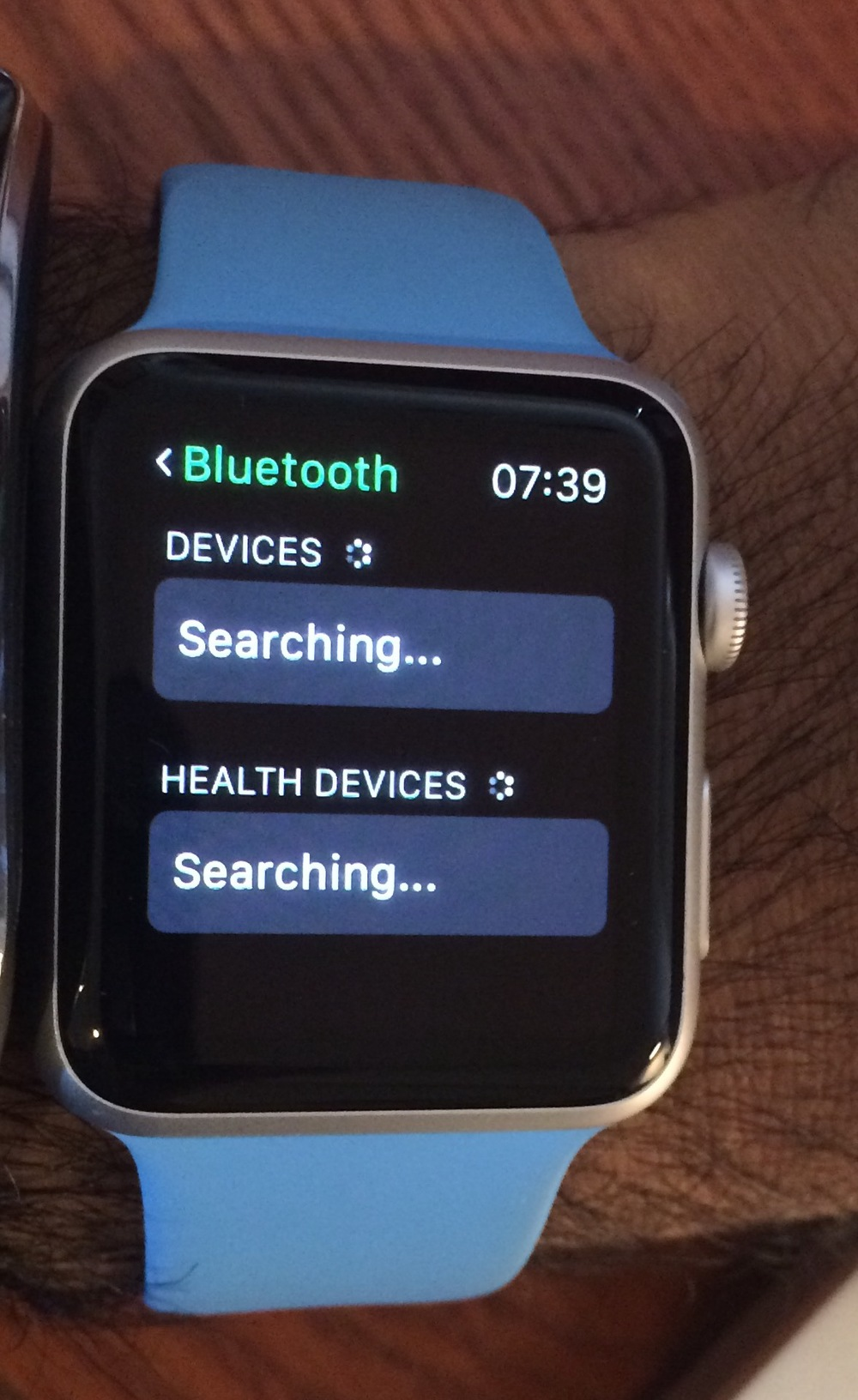 The Apple watch searches for Bluetooth devices