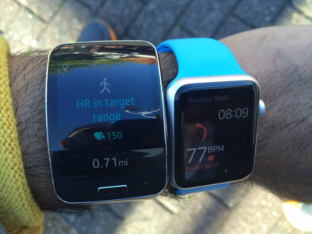 HR on Gear S almost double that of Apple watch (I was sitting on a bench as a I rested during my walk)