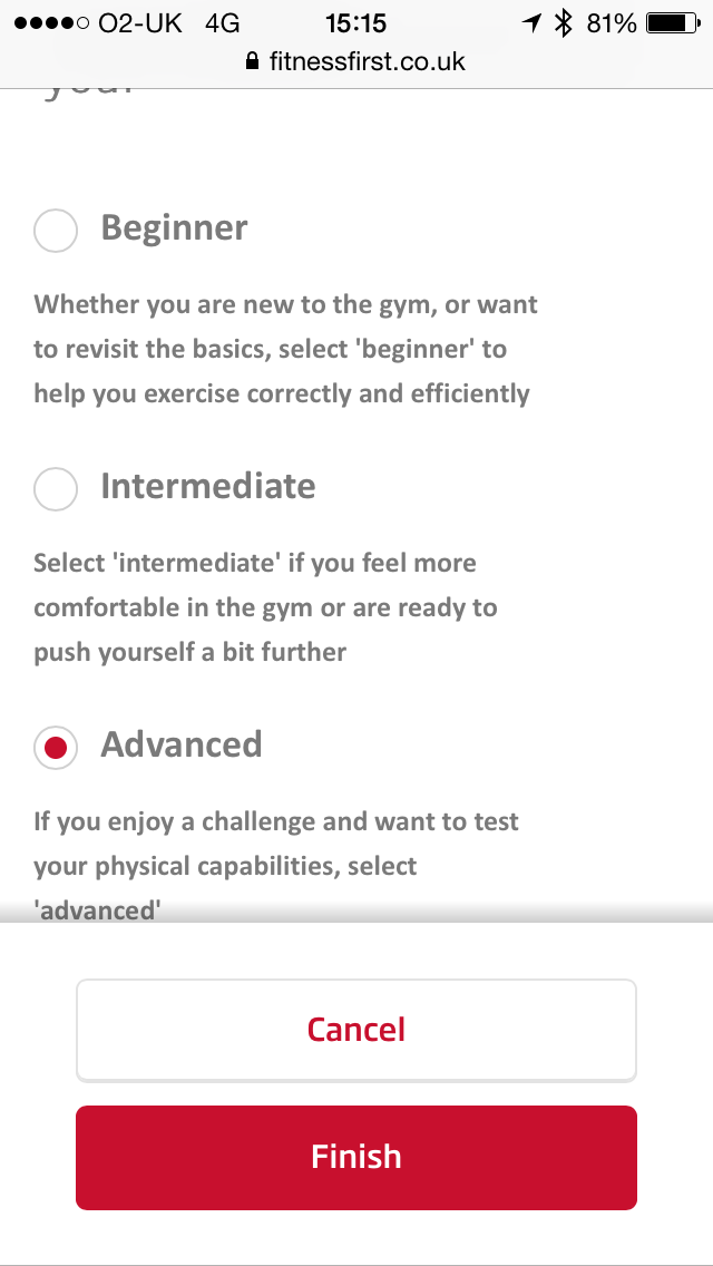One of the screens when setting up the CustomFit app
