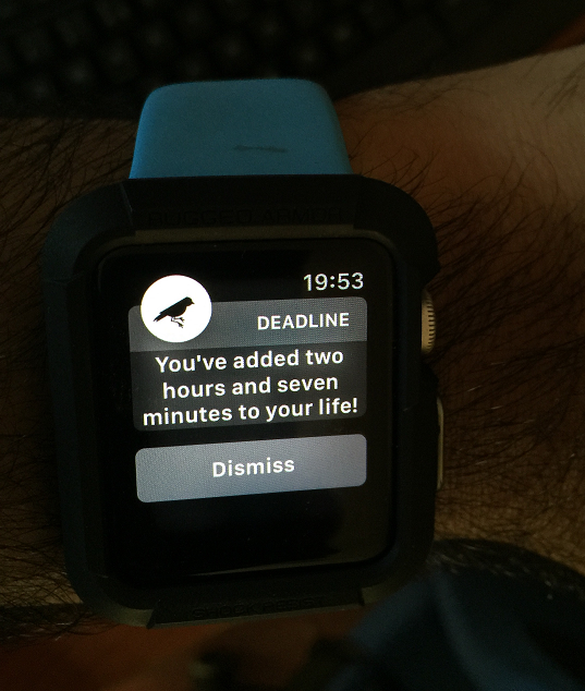 After completing a 46 minute workout at the gym, I got this notification on the watch.