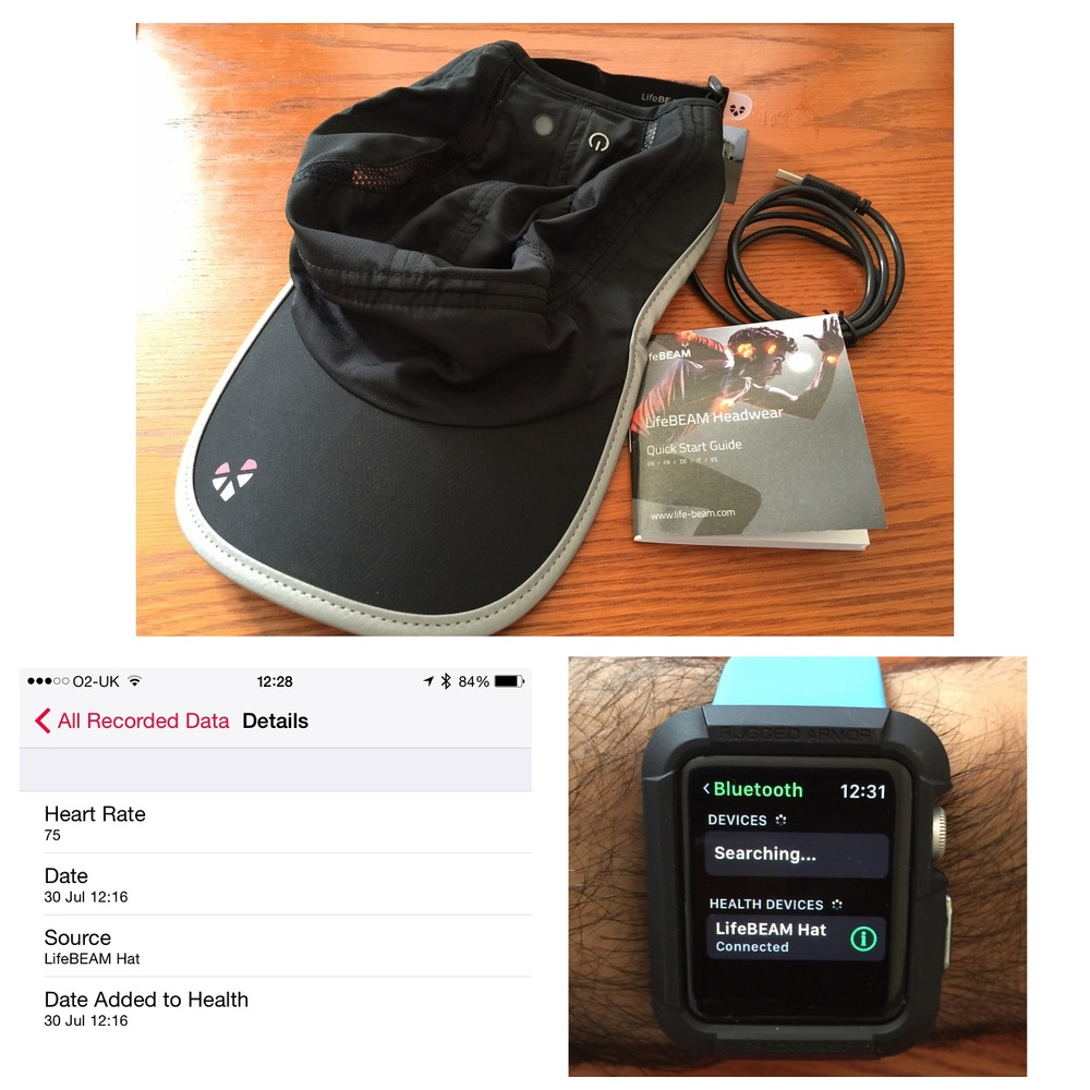 The LifeBeam hat connected by Bluetooth to my watch and the heart rate data gets synced from the watch into Apple's health app on my iPhone
