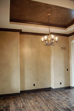 Plaster walls and ceiling