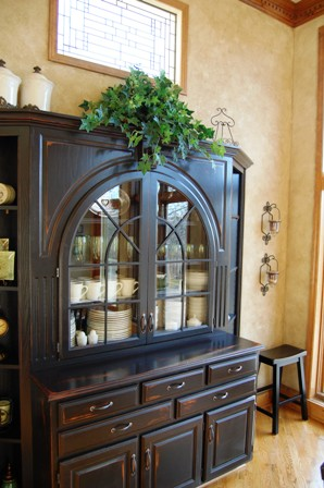 black distressed hutch