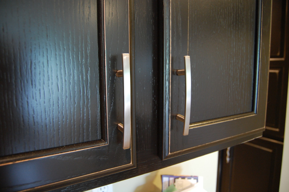 black with distressed edges - cabinets