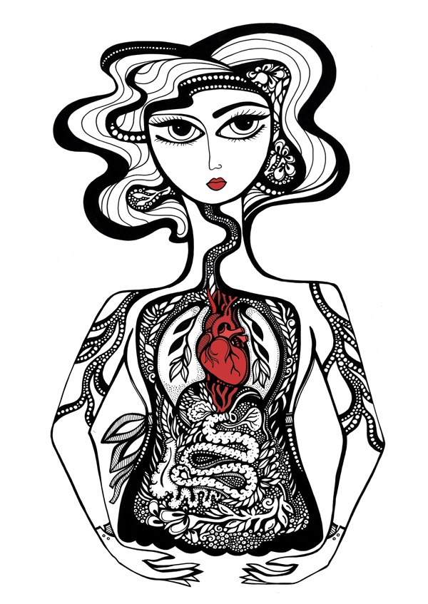 This was such fun to draw. I never tire of drawing organs! Her gloves were modeled after a pair of vintage gloves that belonged to my grandmother.