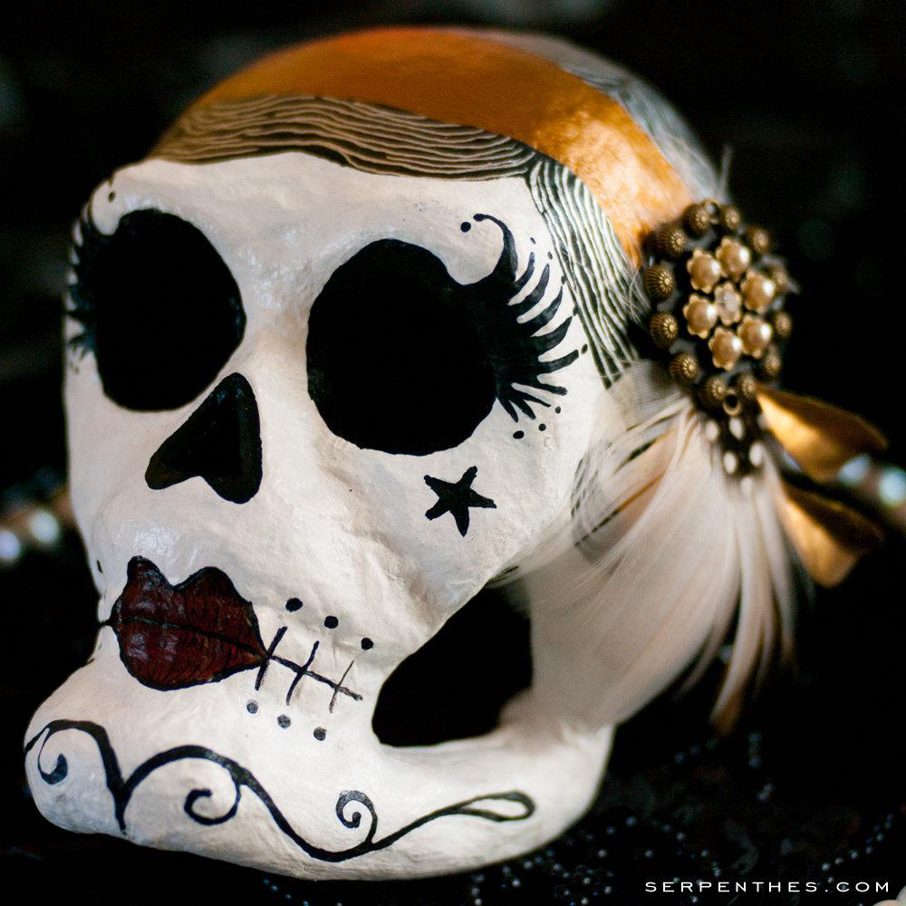 Doña Beatríz - Flapper Paper-Mache Calavera Mask