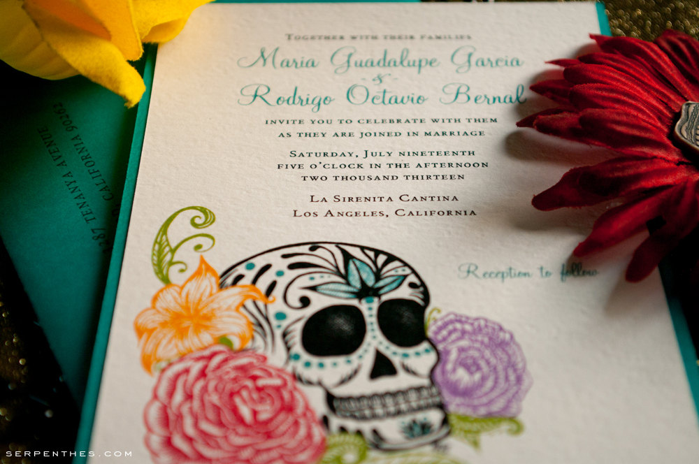 Calavera & Roses - Custom Double Layer Wedding or Party Invitation