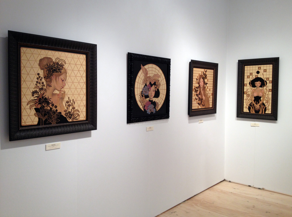 Audrey Kawasaki's mini solo show in the Thinkspace Gallery booth.