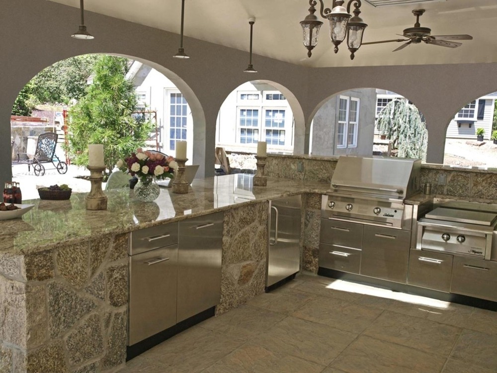 Cuisine ext rieure comptoirs granite quartz kitchen - Outdoor kitchen pictures design ideas ...