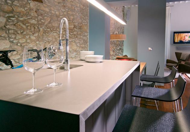 Comptoir de cuisine quartz moderne chic