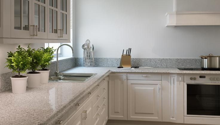 Comptoir de cuisine traditionnelle granit blanc et noir