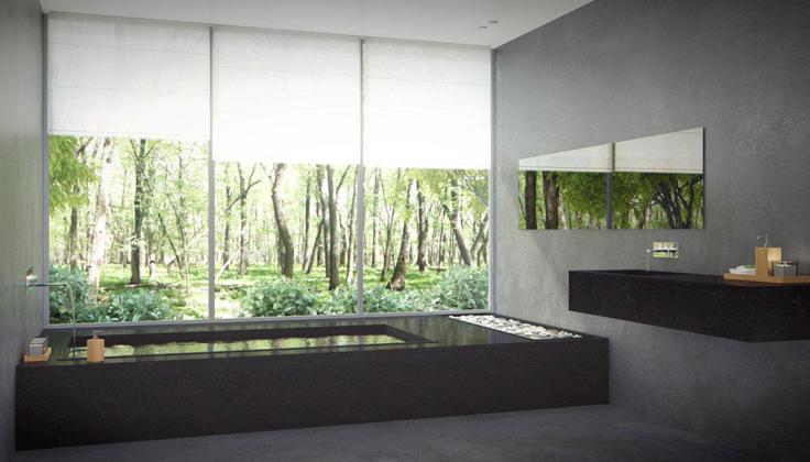Comptoir de salle de bain noir moderne minimaliste