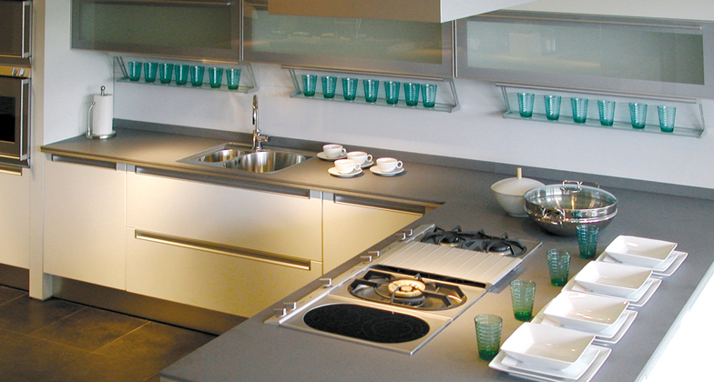 Comptoir de quartz caesarstone comptoirs granite quartz for Cuisine quartz gris