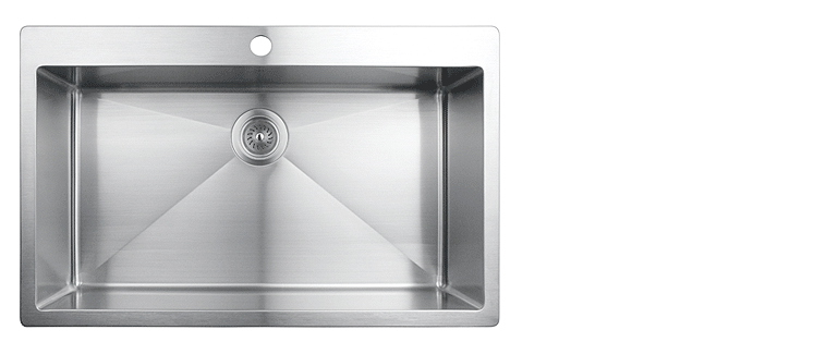 Evier de cuisine sous-plan rubi muscat cuve simple acier inoxydable coin arrondi 820S
