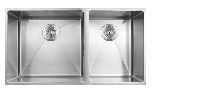 Evier de cuisine sous-plan rubi merlot cuve double acier inoxydable coin arrondi 800D
