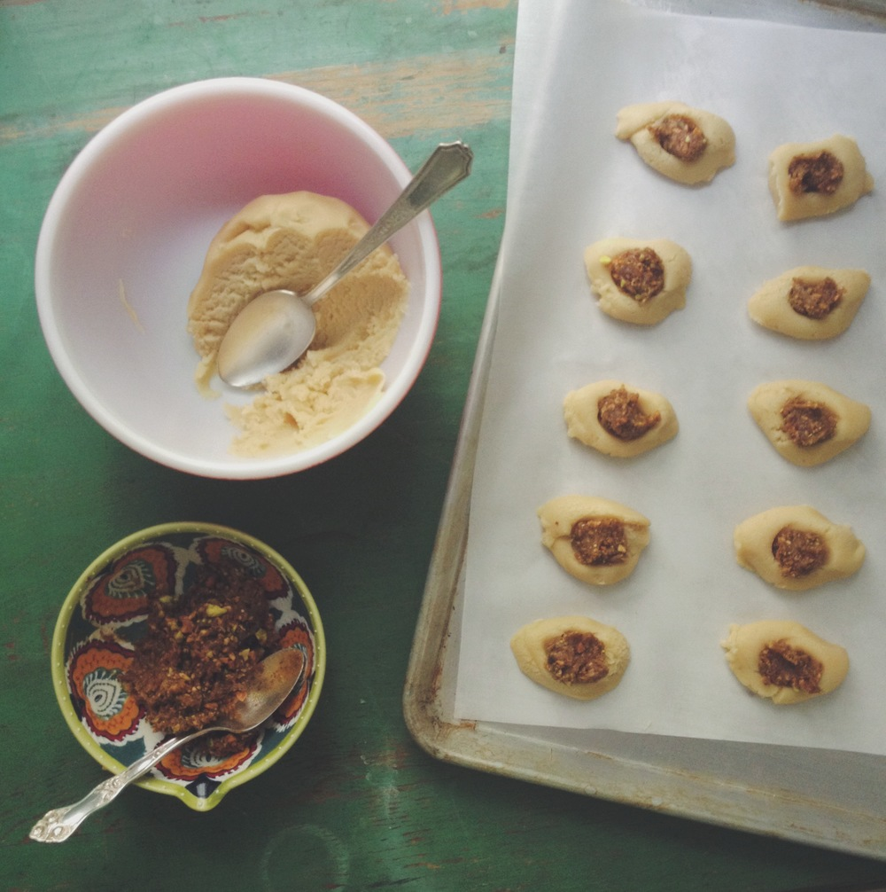 Filling the thumbprint cookies