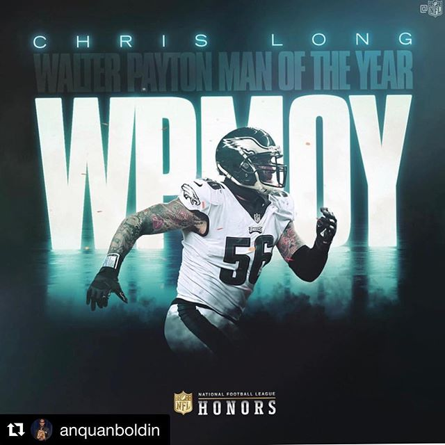 #Repost @anquanboldin ・・・ Congratulations to a fellow @playerscoalition member Chris Long- a guy who remains steadfast in making a difference & committed to improving the lives of others. #WPMOY #NFLHonors