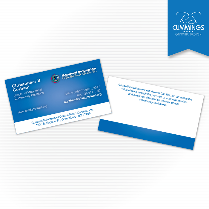 Print graphic design high point nc greensboro nc rs fresh business card design for local goodwill industries branch reheart Choice Image