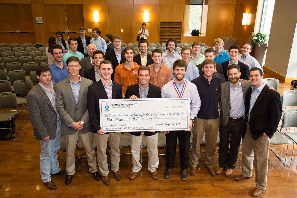 Sigma Chi's Contribution to The Andrew McDonough B+ Foundation  (Photo Credit: Timothy Davis)