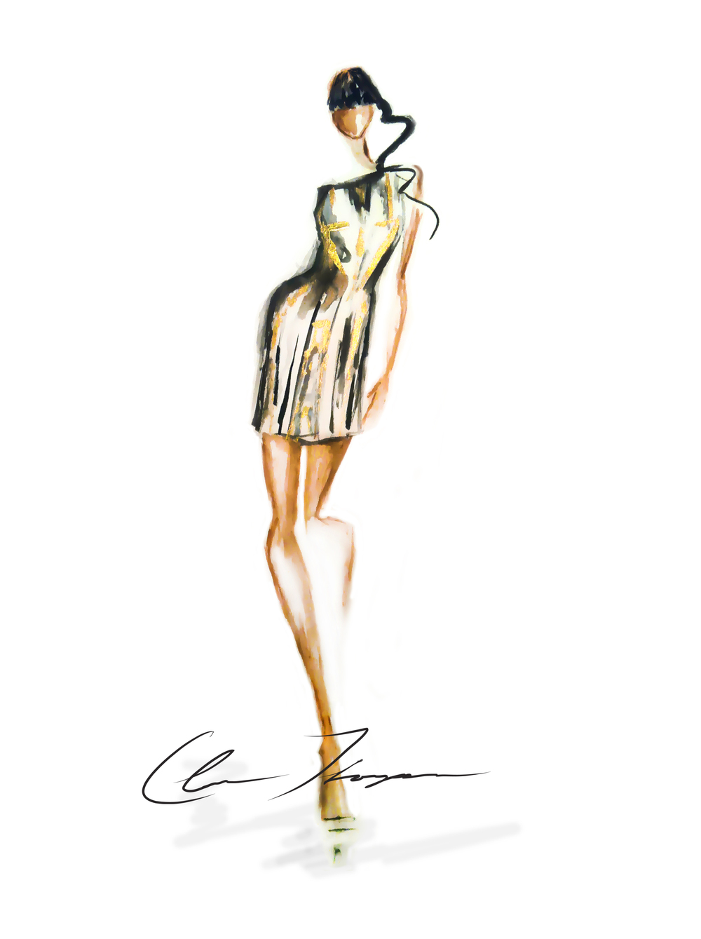 Naomi Campbell for DVF. Live illustration sketch at MBFW