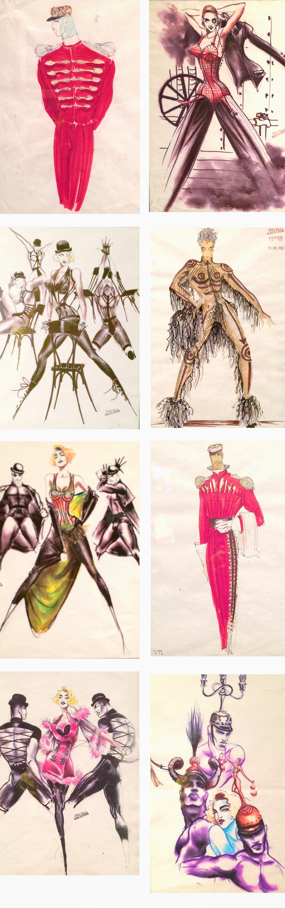 Of course I had to take photos of all his fashion illustrations. I noticed he doesn't draw feet. Interesting.